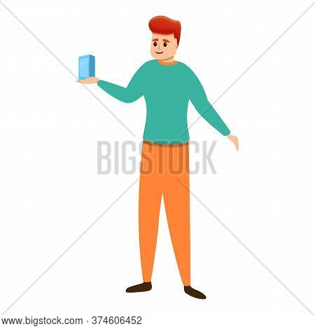 Shop Assistant Show Smartphone Icon. Cartoon Of Shop Assistant Show Smartphone Vector Icon For Web D