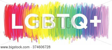 Illustration Of Lgbtq Community, Sexual Equality Concept With Lgbtq+ Text