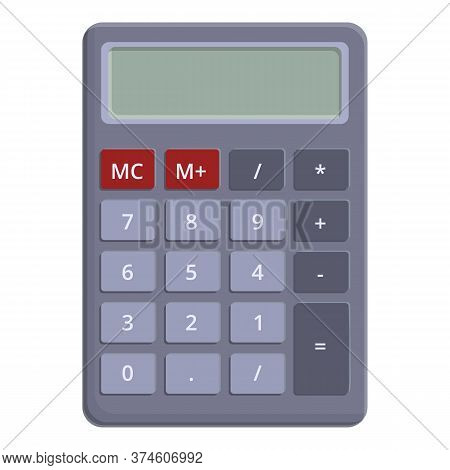 School Calculator Icon. Cartoon Of School Calculator Vector Icon For Web Design Isolated On White Ba