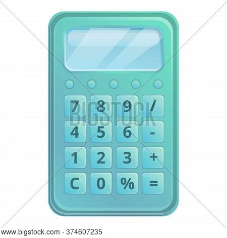 Financial Calculator Icon. Cartoon Of Financial Calculator Vector Icon For Web Design Isolated On Wh