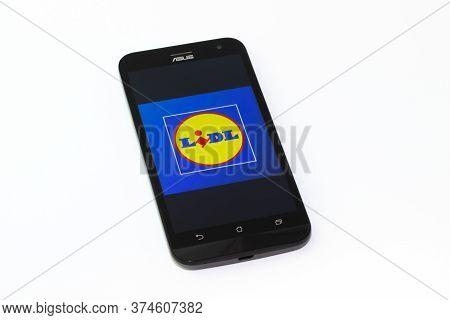 Kouvola, Finland - 23 January 2020: Lidl App Logo On The Screen Of Smartphone Asus