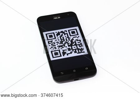 Kouvola, Finland - 23 January 2020: Qr Code On The Screen Of Smartphone Asus.