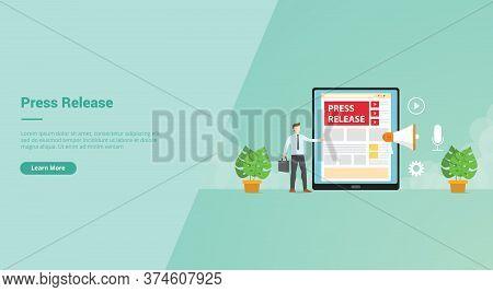 Press Release Businessman Give Information Using Tablet Internet Video Megaphone Campaign For Web We
