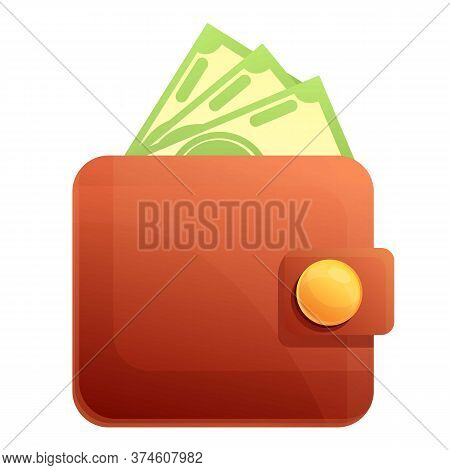 Money Wallet Icon. Cartoon Of Money Wallet Vector Icon For Web Design Isolated On White Background