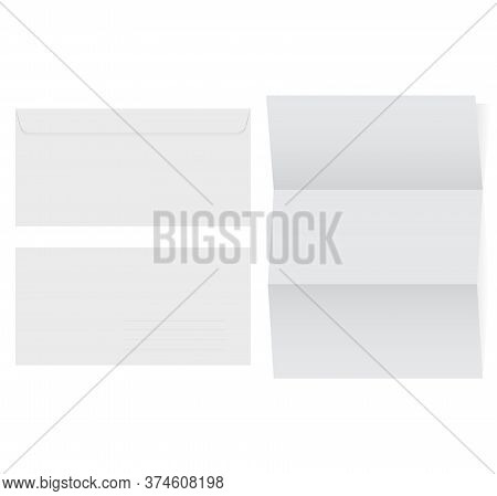 Blank Airmail Envelope And Blank Paper On White Background