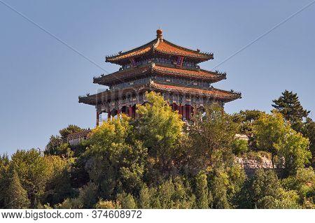 Beijing / China - October 8, 2018: Wanchun Pavilion At Jingshan Park, Prospect Hill, In Beijing, Chi