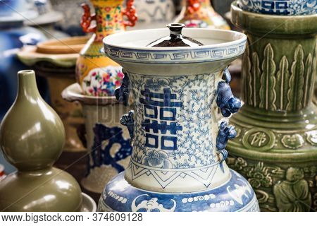 Beijing / China - January 16 2016: Porcelain At The Panjiayuan Antique Market, Beijing Antique Marke