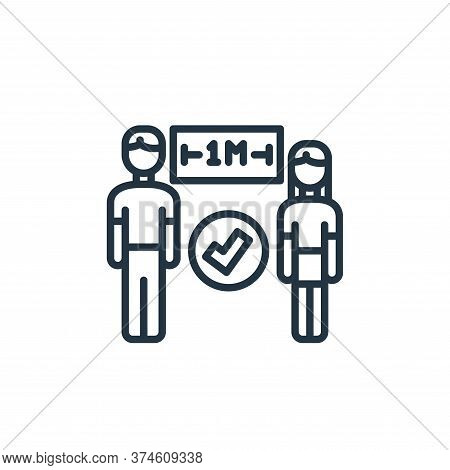 distance icon isolated on white background from virus transmission collection. distance icon trendy
