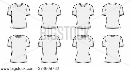 T-shirt Technical Fashion Illustration Set With Crew Neck, Fitted And Oversized Long And Regular Bod