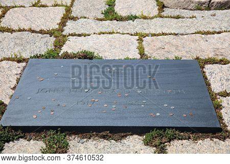 Arlington, Va, Usa - May 02, 2019: Kennedy Grave At Arlington National Cemetery. Virginia. Usa