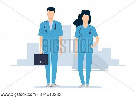 Emergency Medical Service. Doctors Man And Woman Rush To The Rescue. Vector Illustration