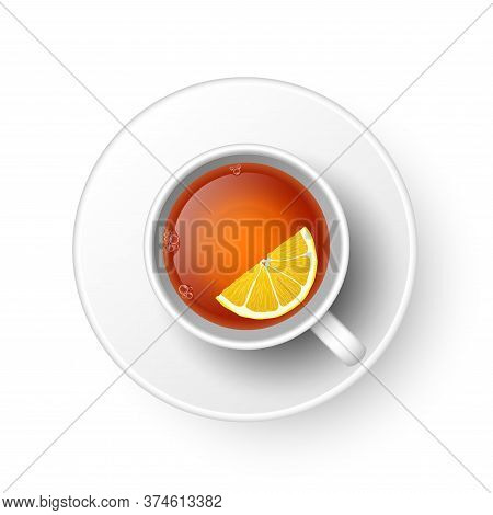 Realistic 3d Cup Of Hot Aromatic Freshly Brewed Drink Black Tea With Lemon, Saucer. A Teacup Top Vie