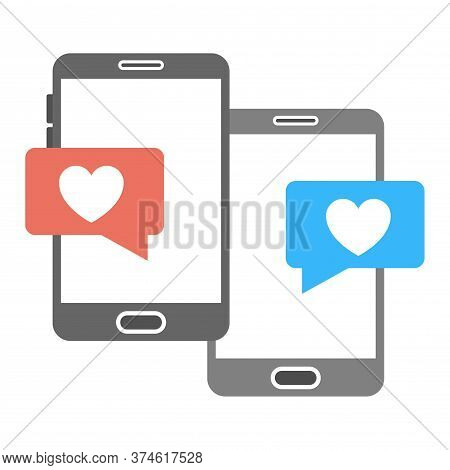 Online Dating App Icon. Romantic Chatting, Love Message Sign. Heart Bubbles Symbol. Modern Dating Ap