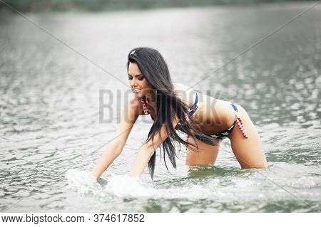 Beautiful Sensual Woman Perfect Body On The Tropical Resort