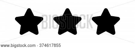 3 Stars Icon Cute Isolated On White, Star Shape Black, Illustration Simple Star For Rating Symbol