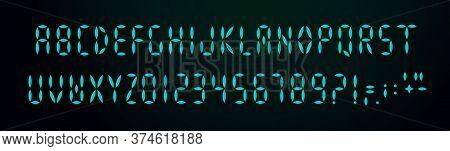 Digital Font On Black Background. Glowing Scoreboard Typeface Elements. Digital Display Alphabetical