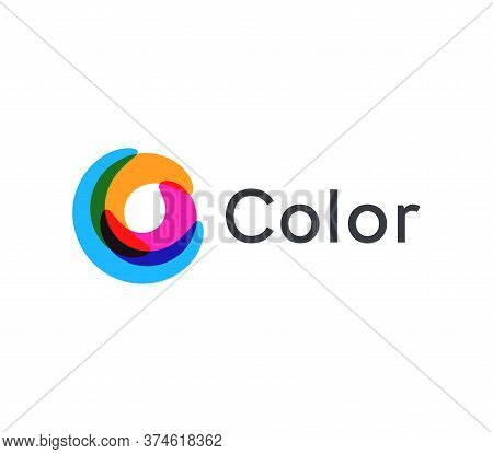 Twisted Multi-colored Circle Vector Icon, Abstract Wheel On A White Background, Colored Round Logo T