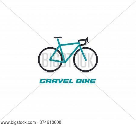 Professional Gravel Bike Ride Logotype. Turquoise Bicycle Logo On White Background. Active Recreatio