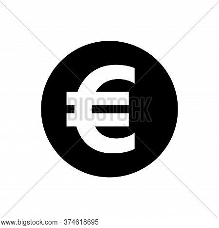 Euro Currency Coin Black For Icon Isolated On White, Euro Money For App Symbol, Simple Flat Euro Mon