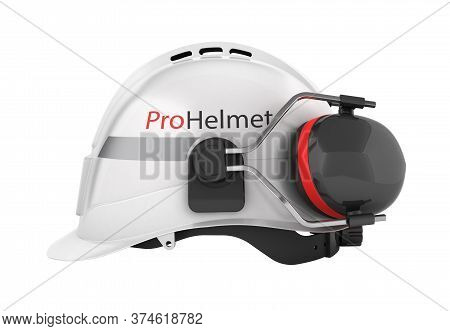 Hard Hat Safety Halmet With Earmuffs Isolated On White Background 3d Side View Without Shadow
