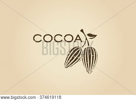 Whole Cocoa Pods, Fruit Tree Logo. Cocoa Nibs And Beans Retro Logotype. Raw, Roasted, Grated Cocoa I