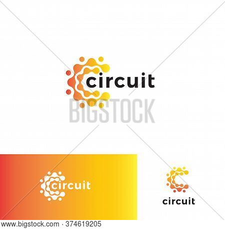 Digital Stylized Circuit Board Logo Set. Electronic Technology Logotype Collection. Round Micro Sche