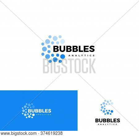 Bubbles Logo Set. Web Analytics App Logotype Collection. Business Report Element, Mind Map Applicati