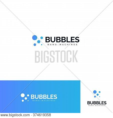 Bubbles Logo Set. Sparkling Mineral Water Logotype Collection. Aqua Park, Jacuzzi Sign. Fresh Fizzy