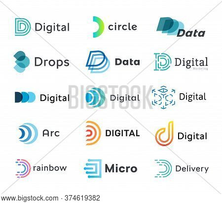 Set Of Digital Logo Templates, Creative Linear Data Logotypes, Modern Abstract Letter D, Vector Embl
