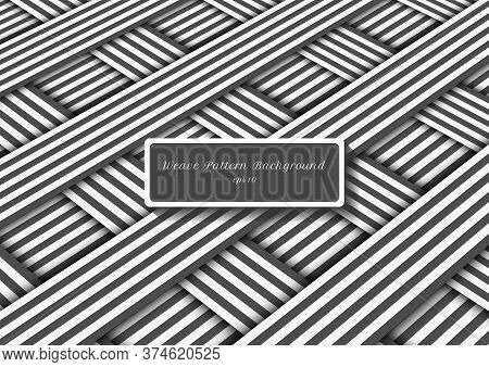 Abstract Gray And White Diagonal Stripes Lines Weave Pattern. Vector Illustration