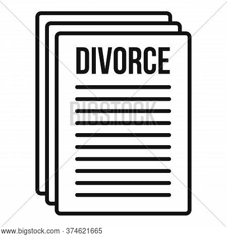 Divorce Papers Icon. Outline Divorce Papers Vector Icon For Web Design Isolated On White Background