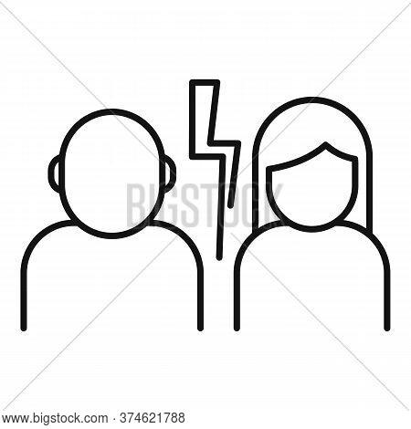 Divorce Couple Break Icon. Outline Divorce Couple Break Vector Icon For Web Design Isolated On White