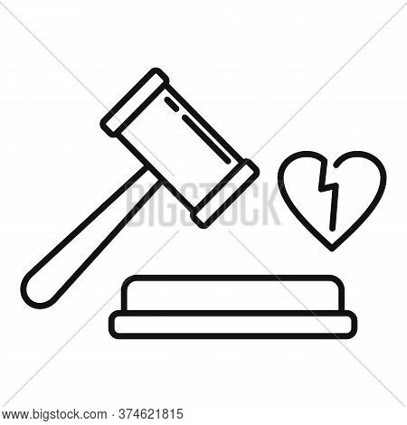 Judge Break Divorce Icon. Outline Judge Break Divorce Vector Icon For Web Design Isolated On White B
