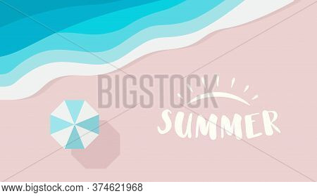 Wide Summer Poster Template With Text Or Logo Place. Top View Of Azure Sea, Beach Umbrella And Pink
