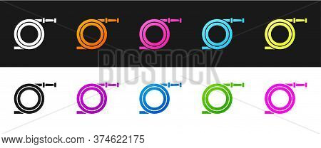 Set Garden Hose Or Fire Hose Icon Isolated On Black And White Background. Spray Gun Icon. Watering E