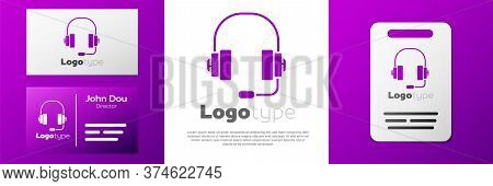 Logotype Headphones Icon Isolated On White Background. Support Customer Service, Hotline, Call Cente