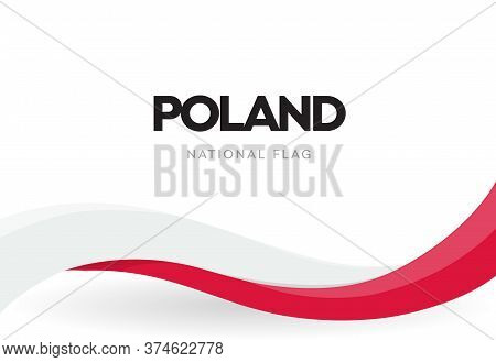 Polish Waving Flag. Red And White Ribbon Illustration. Poland National Independence Day Banner. The