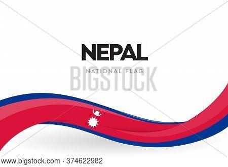 The Federal Democratic Republic Of Nepal Waving Flag Banner. Nepali National Holiday Celebration Pos