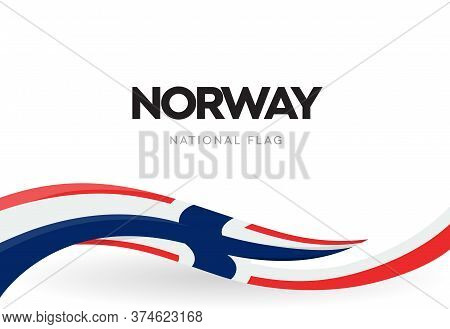 Norway Flag, Wavy Ribbon With Colors Of Norwegian National Flag On White Background For Independence