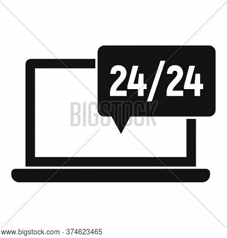 Laptop 24 Hour Service Support Icon. Simple Illustration Of Laptop 24 Hour Service Support Vector Ic