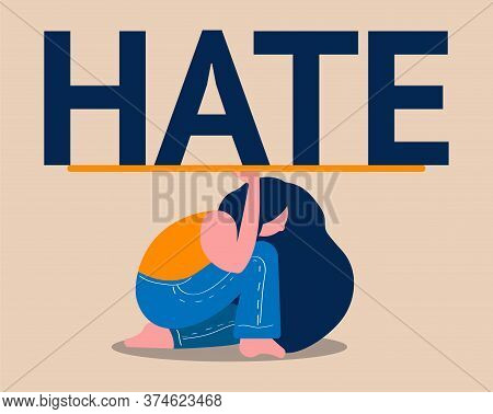 A Woman Is Trying To Resist The Onslaught Of Hatred. Illustration Of Bullying And Hate Online And In