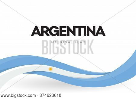 Argentinian Waving Flag Banner. Argentina Patriotic Blue And White Ribbon Poster. The Argentine Repu