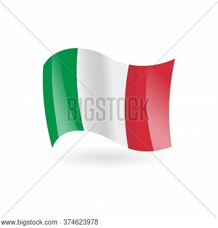 Italy Waving Flag. Green, White And Red Vertical Stripes.italy Day