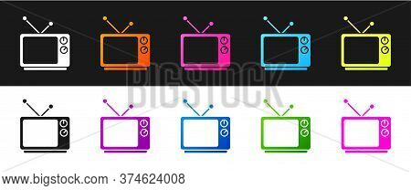 Set Retro Tv Icon Isolated On Black And White Background. Television Sign. Vector Illustration