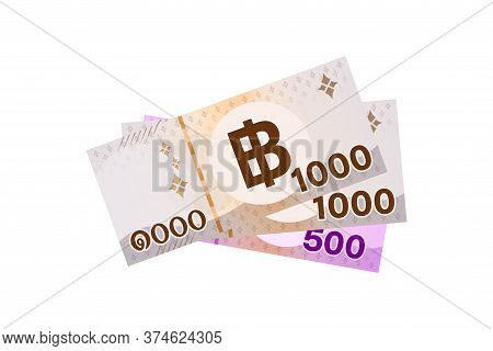 Thai Banknote Money 2500 Baht Isolated On White, Thai Currency Two Thousand Five Hundred Thb, Money