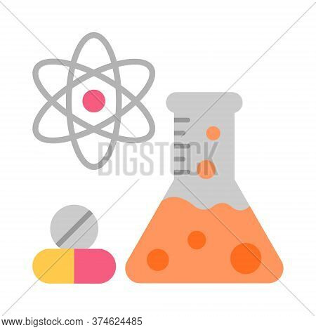 Pharmaceutical Research And Development Icon. Drug Formulating. Chemical Engineering. Flask, Molecul