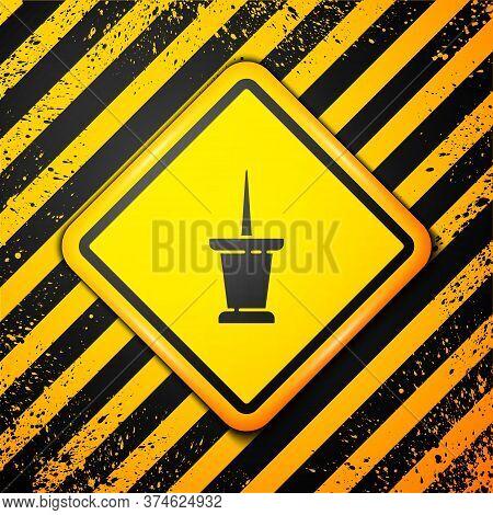 Black Push Pin Icon Isolated On Yellow Background. Thumbtacks Sign. Warning Sign. Vector Illustratio