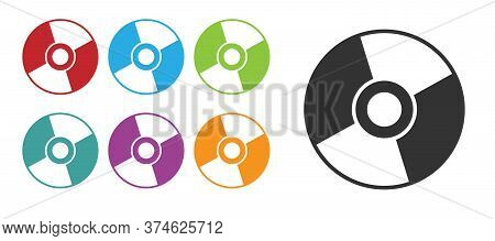 Black Cd Or Dvd Disk Icon Isolated On White Background. Compact Disc Sign. Set Icons Colorful. Vecto
