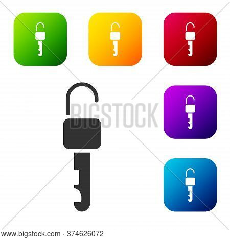 Black Unlocked Key Icon Isolated On White Background. Set Icons In Color Square Buttons. Vector Illu