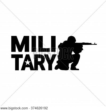 Military Emblem With Shooting Soldier. Military Silhouettes Background